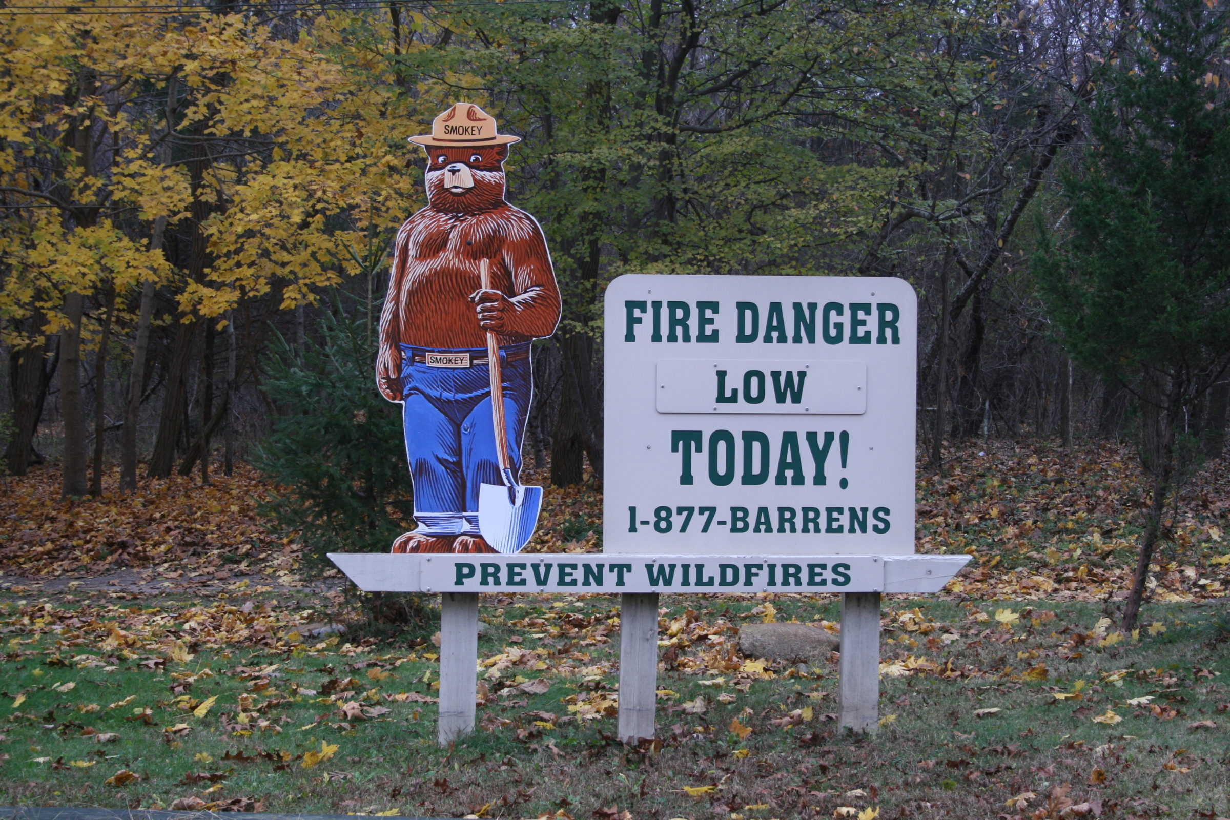 Smokey the Bear Fire Danger Rating Sign in the Long Island Pine Barrens