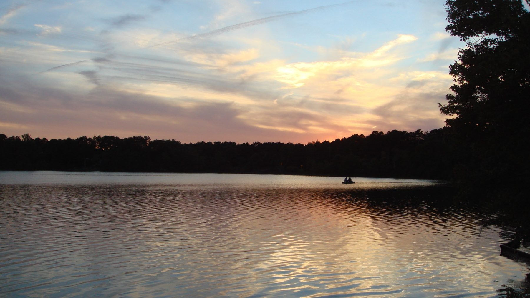 Sunset over a lake in the Pine Barrens
