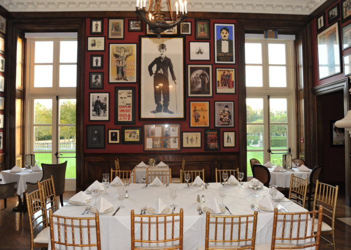 Interior room at Oheka Castle with a Charlie Chaplin Theme