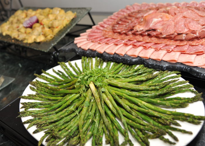 Asparagus and meats laid out for the cocktail hour at Oheka Castle