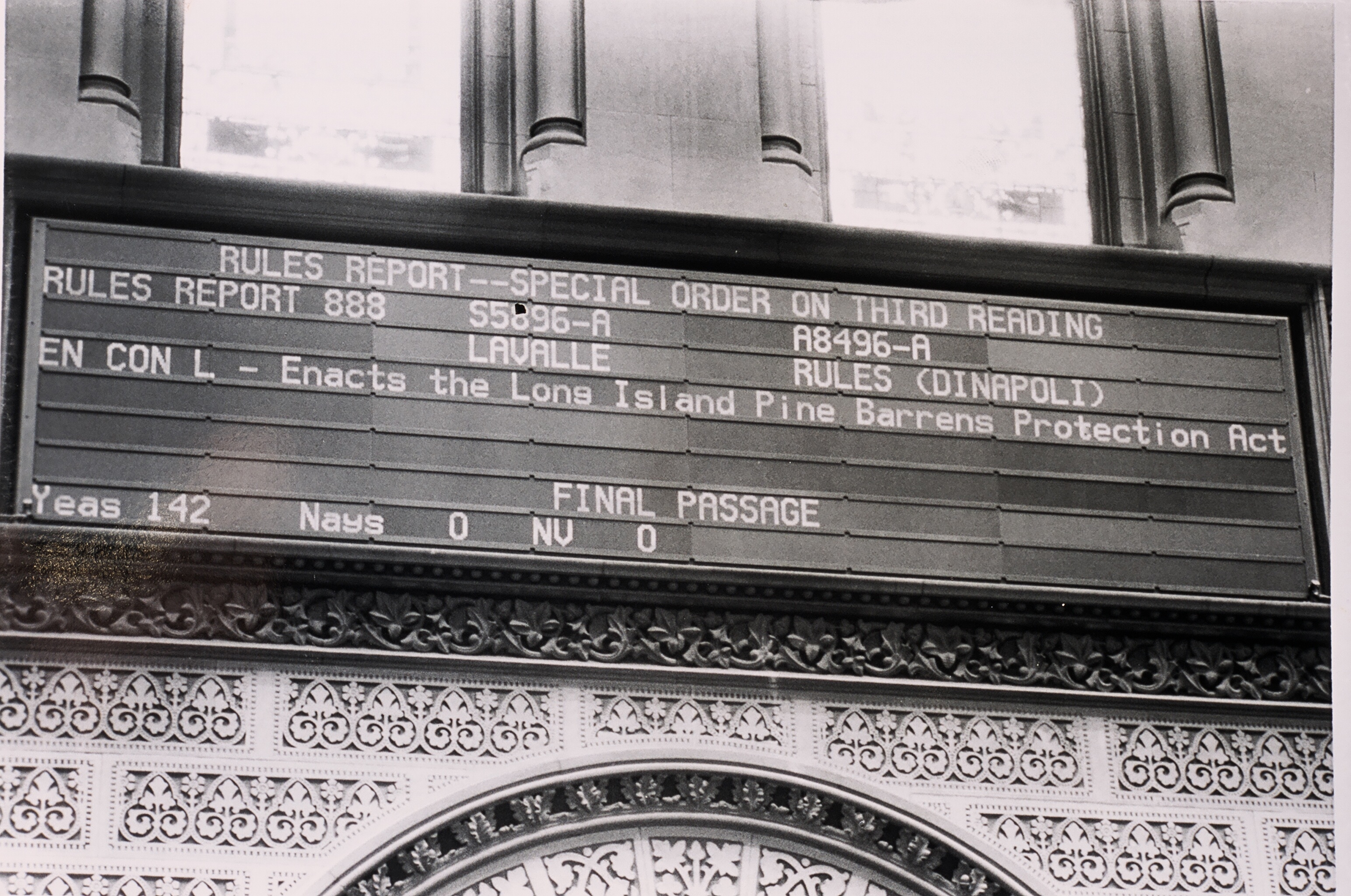 Sign showing that the Pine Barrens Act has passed a vote in the New York State Legislature 1993
