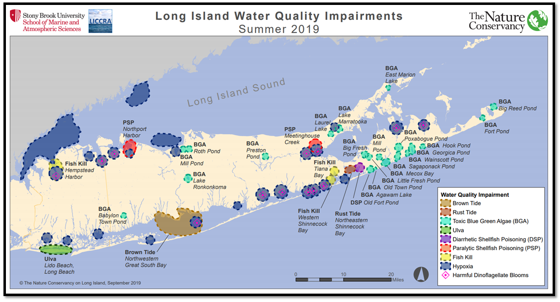 Map of Long Island showing wate quality impairments