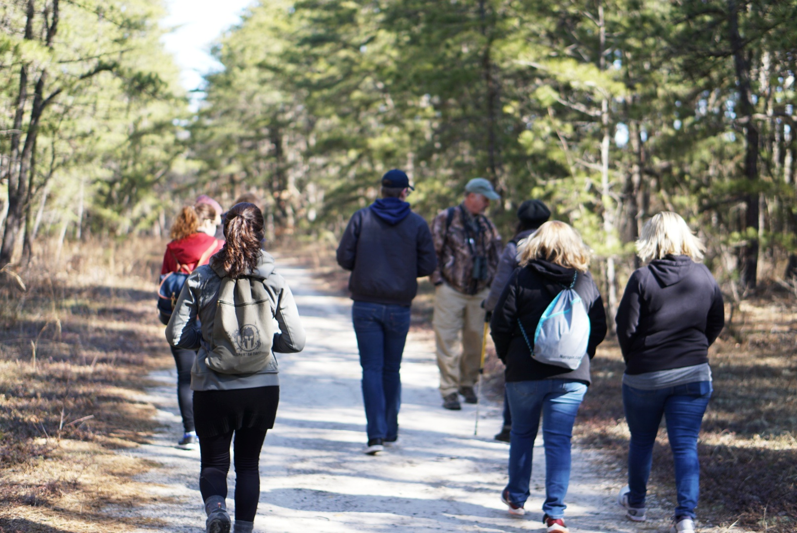 Group of people hiking in Cranberry Bog Preserve
