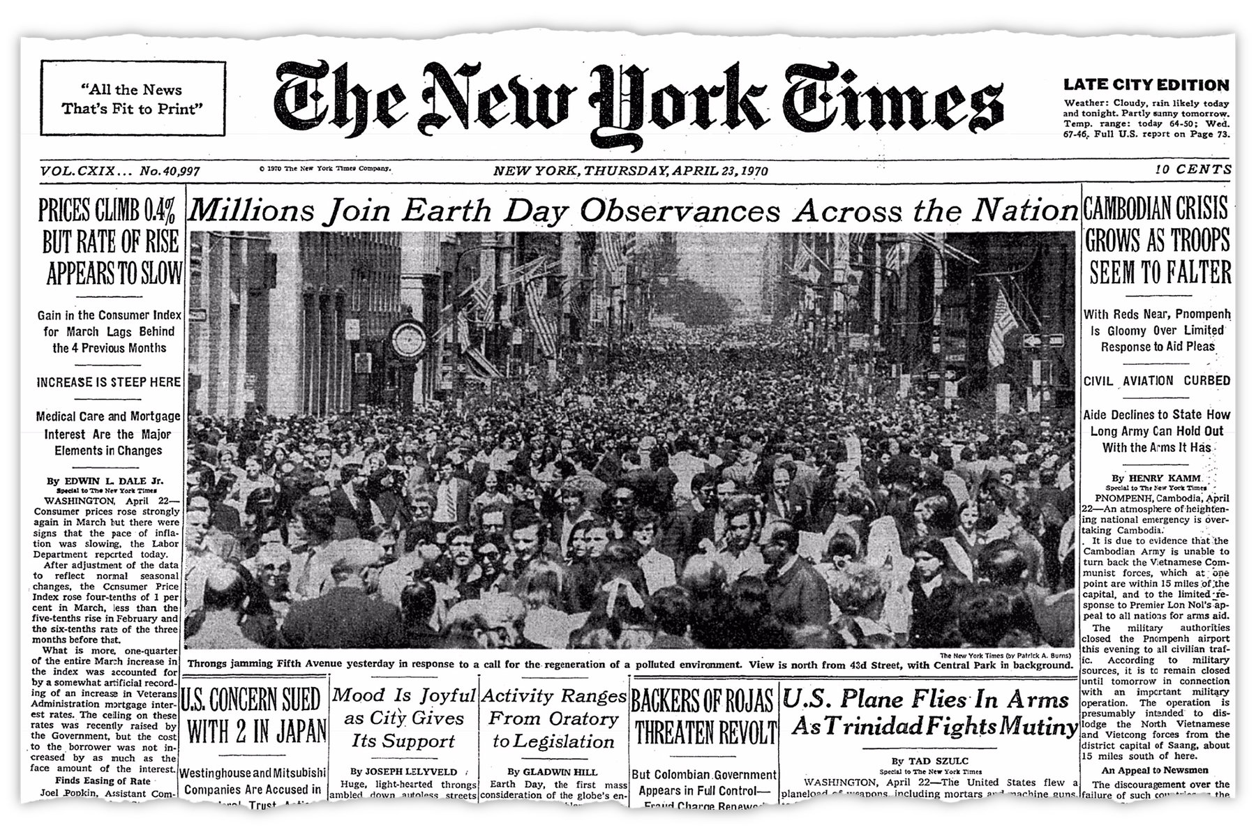 New York Times Cover of first earth day in 1970