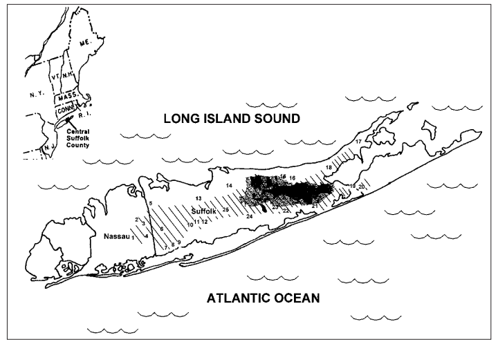 Map of Long Island showing how the Pine Barrens once extended west into the Town of Oyster Bay