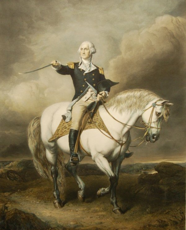 George Washington on a horse saluting