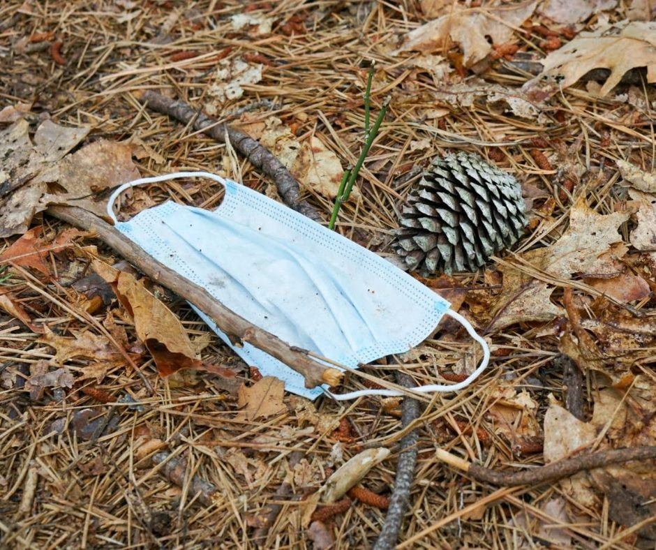 surgical mask littered in the woods