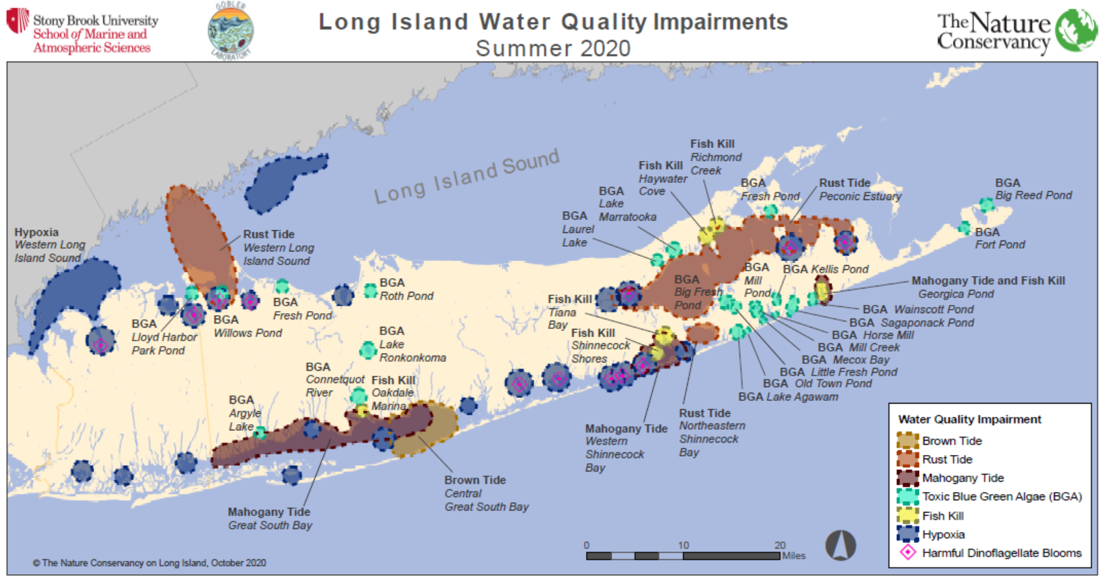 Map of Long Island showing areas where algae blooms and low/no oxygen were observed Summer 2020