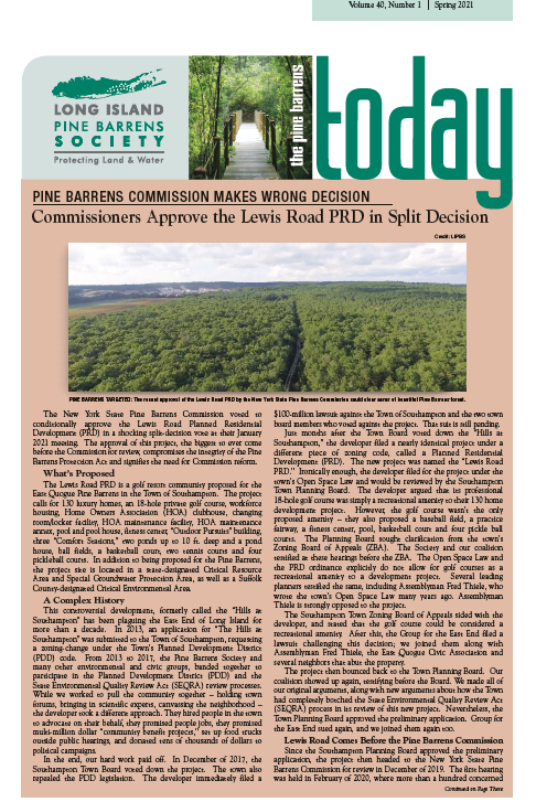 cover of pine barrens today spring 2021 newsletter